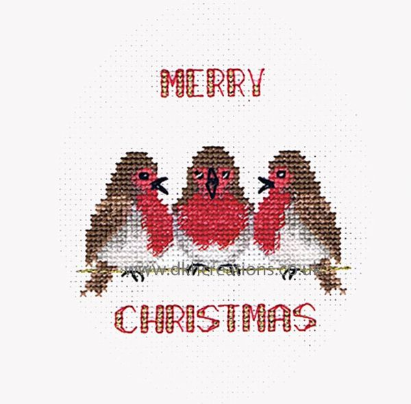 Robin Trio Christmas Card Cross Stitch Kit